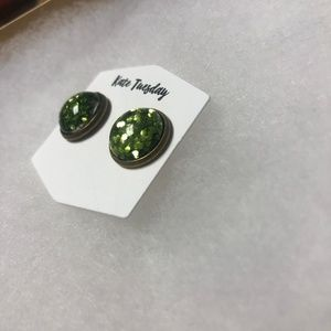 Kate Tuesday Jewelry - 5/$20 Green Flecked Sparkle Earring Studs - New